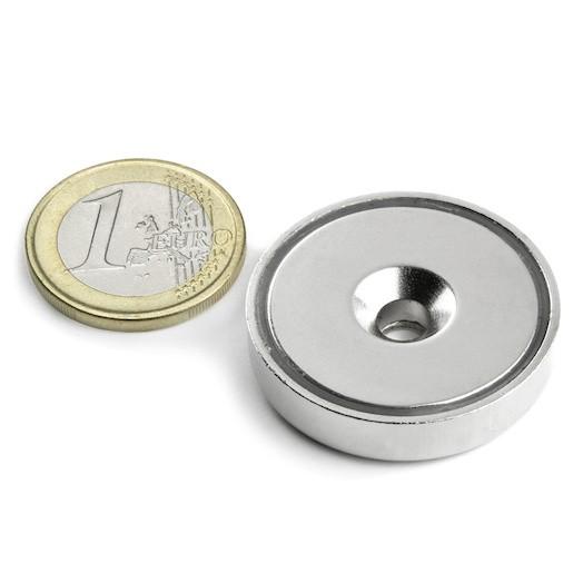 Aimant en pot avec trou biseauté Diamètre 32mm Puissance 30kg magnetique