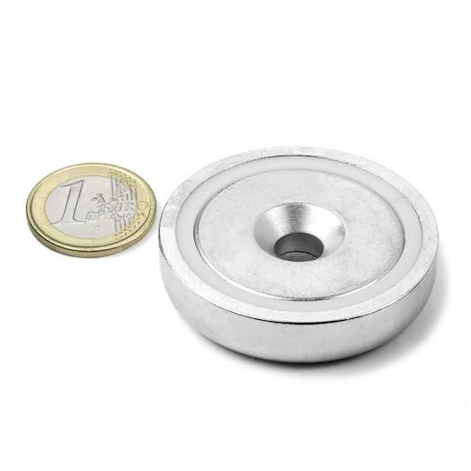Aimant en pot avec trou biseauté Diamètre 48mm Puissance 87kg magnetique