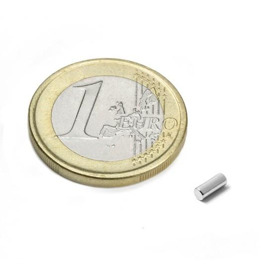 Aimant brut Diamètre 2mm Hauteur 5mm PUISSANCE 0,17kg magnetique