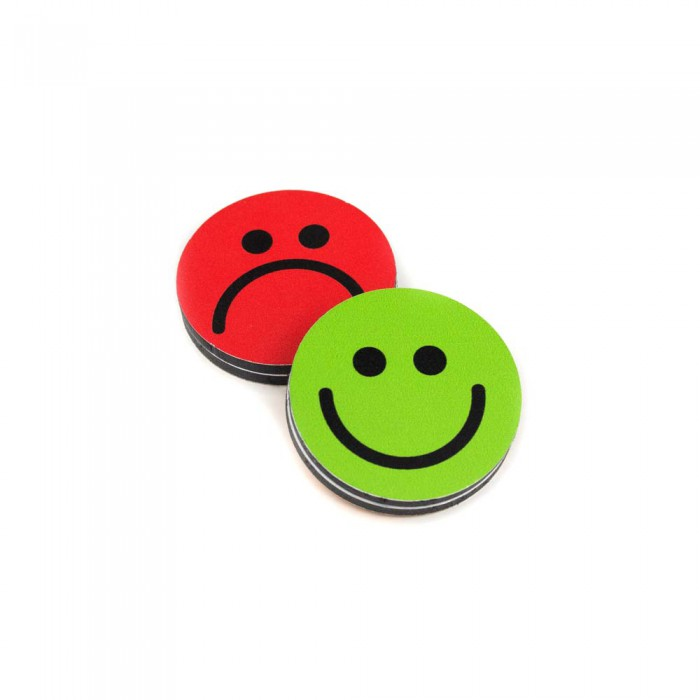 Plots smileys recto-verso 35mm vert-rouge magnetique