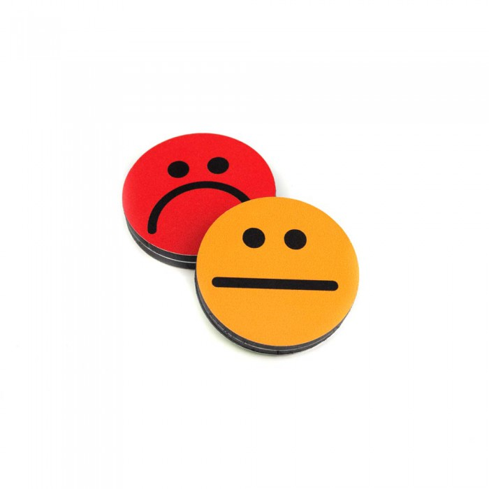 Plots smileys recto-verso 50mm Orange-Rouge magnetique