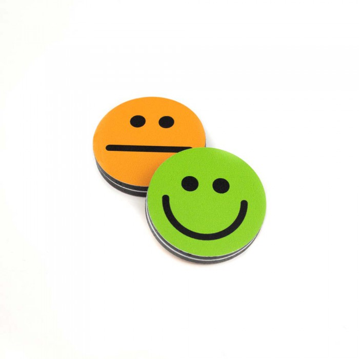 Plots smileys recto-verso 70mm Vert-Orange magnetique