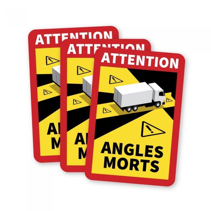 Lot de 3 Magnets Affichage angle mort camion magnetique