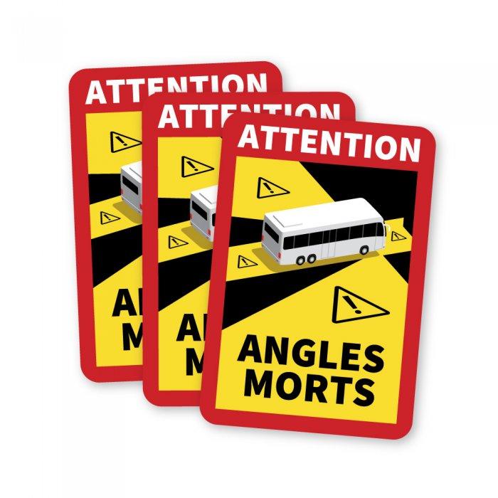 Lot de 3 Magnets affichage angle mort bus et camping car magnetique