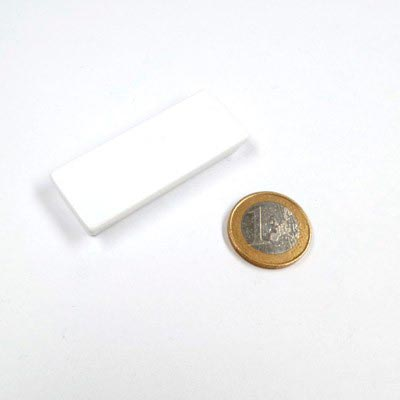 Aimant bloc blanc rectangle 55mm x 22mm x 8,5mm magnetique