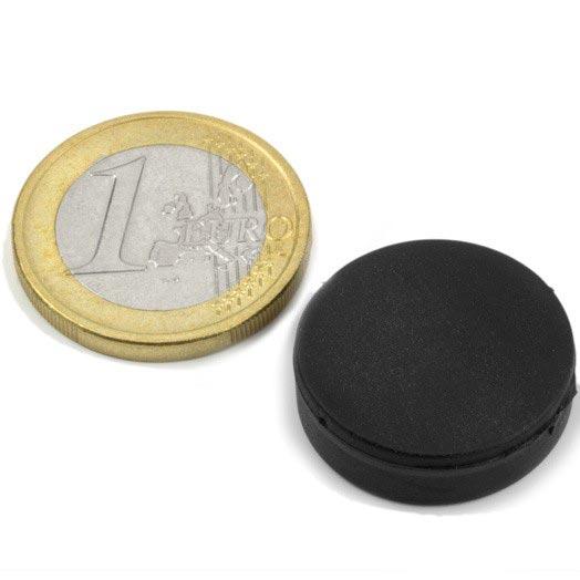 Aimant brut diametre 22mm x 6,4mm caoutchouc magnetique