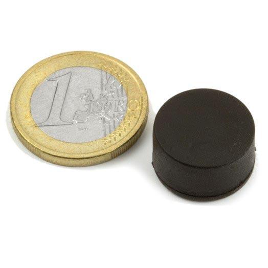 Aimant brut diametre 16,8mm x 9,4mm caoutchouc magnetique