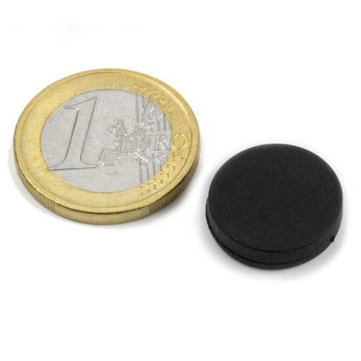 Aimant brut diametre 16,8mm x 4,4mm caoutchouc magnetique