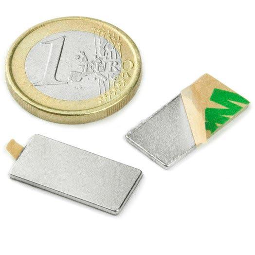 Aimant brut 30mm x 10mm x  1mm ADHESIF magnetique