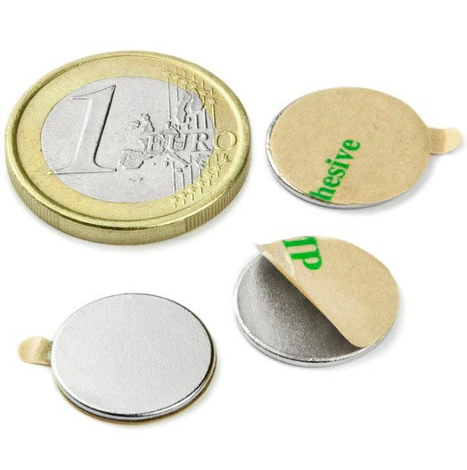 Aimant brut diametre 15mm x 1mm ADHESIF magnetique