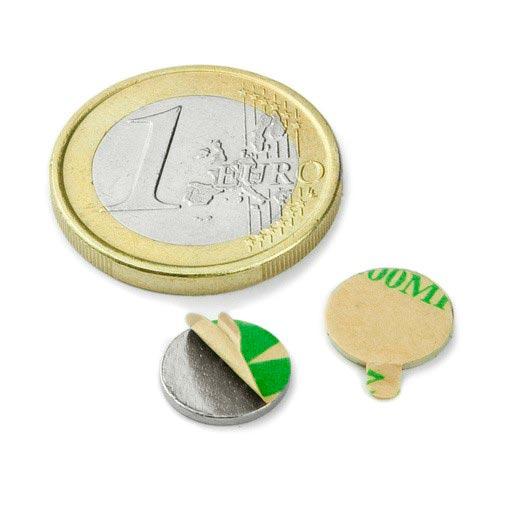 Aimant brut diametre 10mm x 1mm ADHESIF magnetique