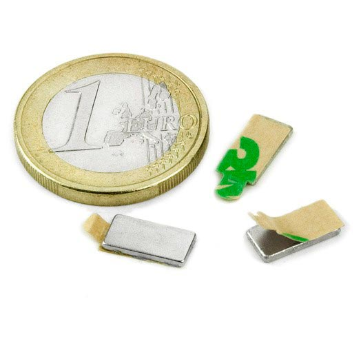 Aimant brut 10mm x 5mm x  1mm ADHESIF magnetique