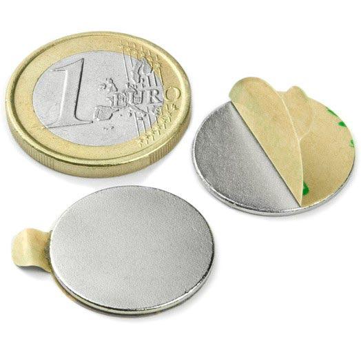 Aimant brut diametre 20mm x 1mm ADHESIF magnetique