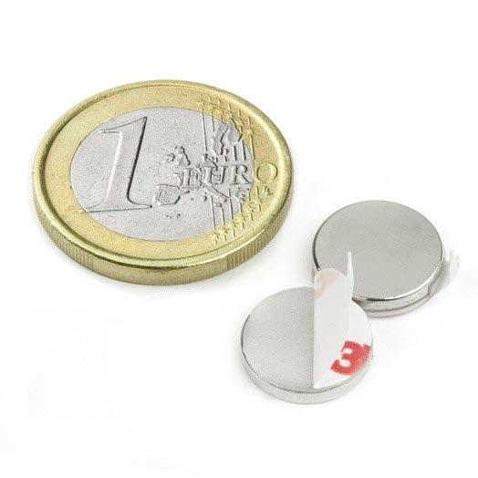 Aimant brut diametre 12mm x 2mm ADHESIF Aimants néodymes