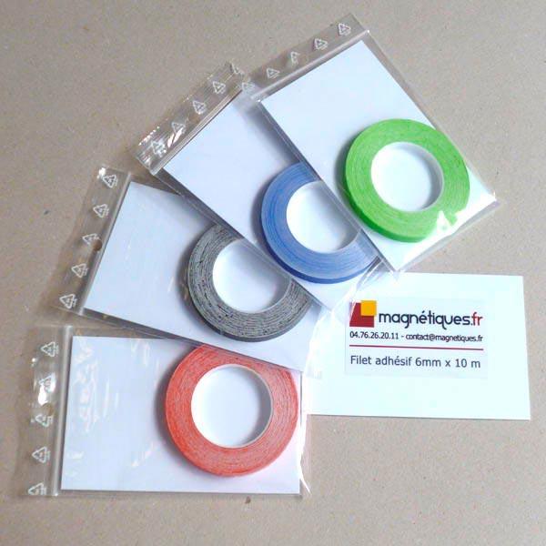 Filet adhésif vert 6mm  magnetique