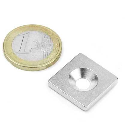 Contre-partie percée 20mm x 20mm Aimants néodymes