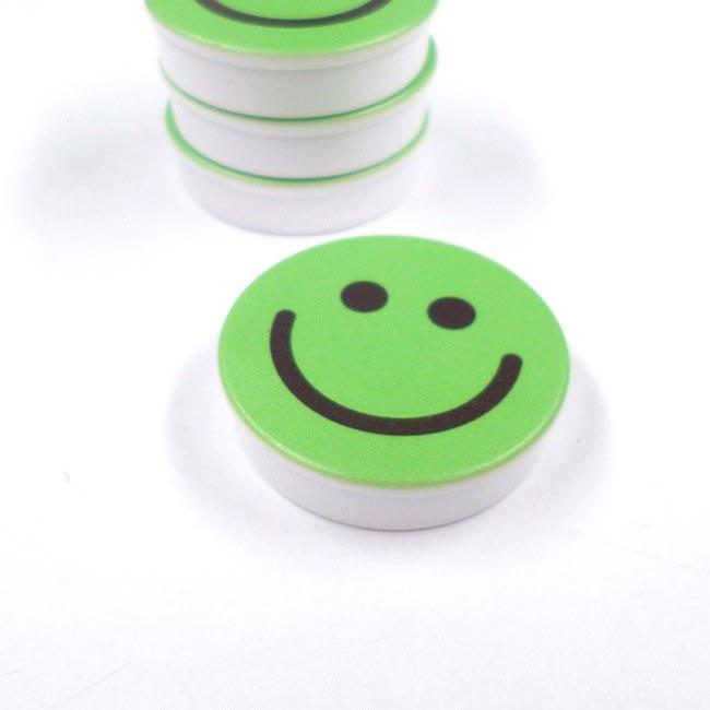 Aimants bloc rond SMILEY vert 30mm x 8mm magnetique