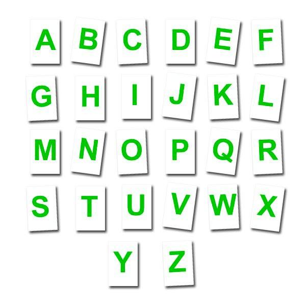 Lettres à l'unité Vertes fond blanc 5 cm Aimants néodymes