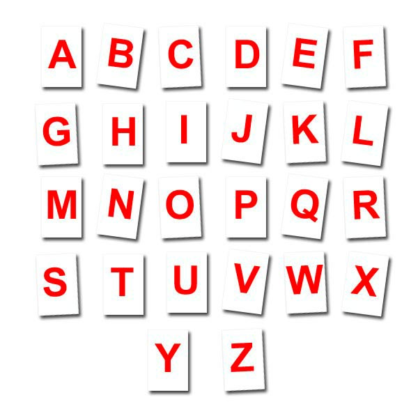 Lettres à l'unité Rouges fond blanc 5 cm Aimants néodymes
