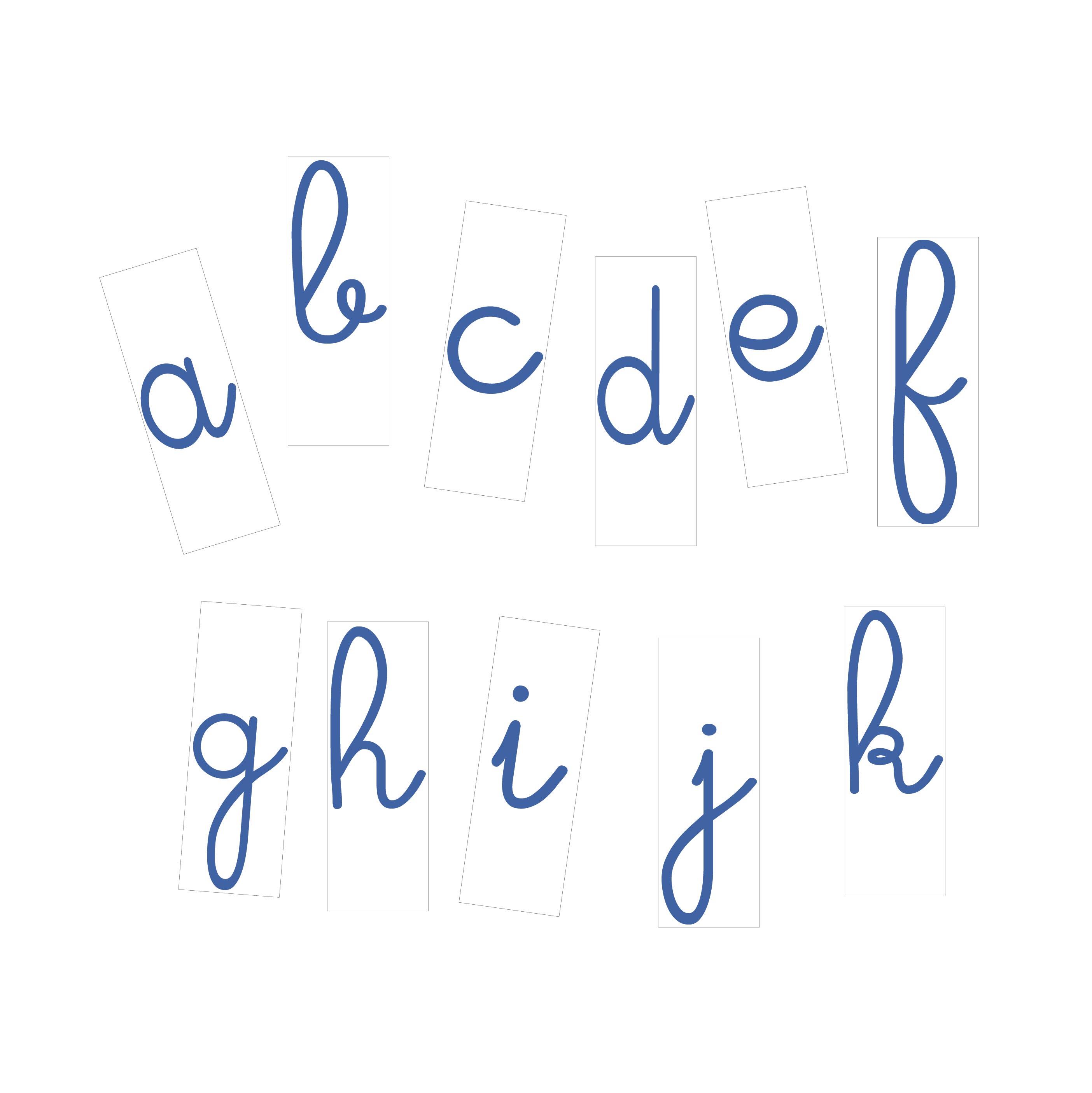 Lettres à l'unité cursives 10 cm Bleues fond blanc magnetique