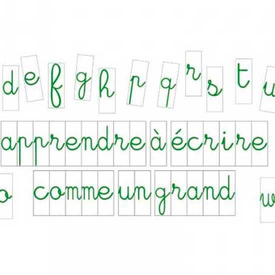 Lettres à l'unité cursives 10 cm Vertes fond blanc magnetique