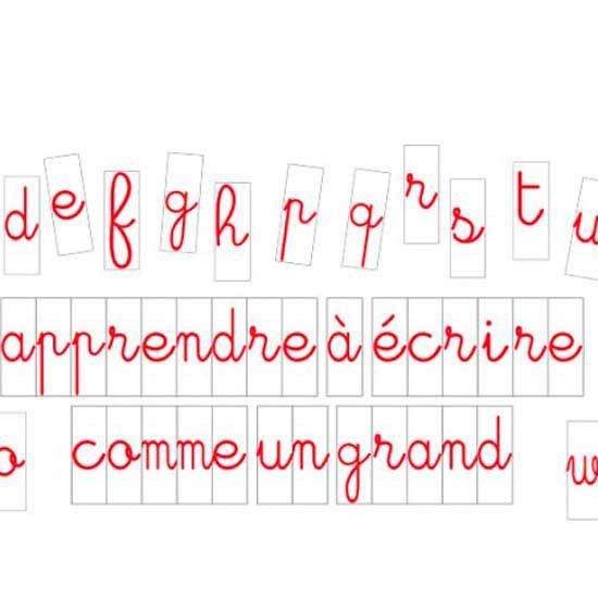Lettres à l'unité cursives 10 cm Rouges fond blanc Aimants néodymes