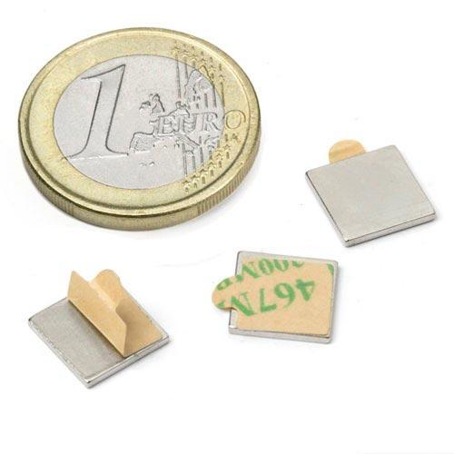 Aimant brut 10mm x 10mm x  1mm ADHESIF magnetique