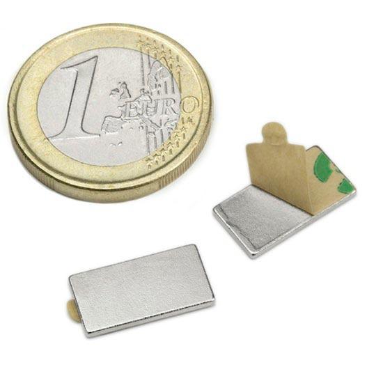 Aimant brut 15mm x 8mm x  1mm ADHESIF magnetique