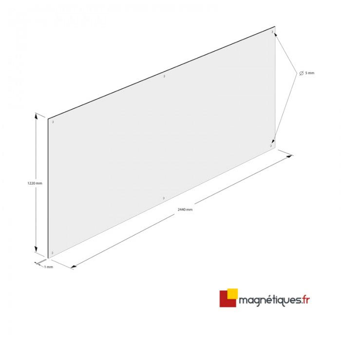 Fond semi-rigide blanc brillant 2,44m x 1,22m magnetique