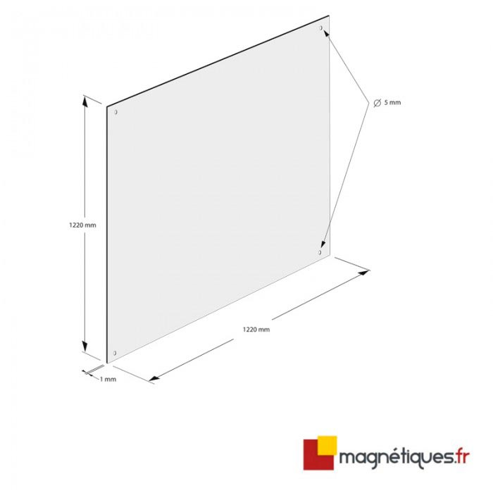 Fond semi-rigide blanc brillant 1,22m x 1,22m magnetique