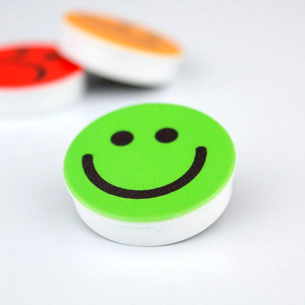 Aimants blocs ronds pictos et smileys 30mm magnetique