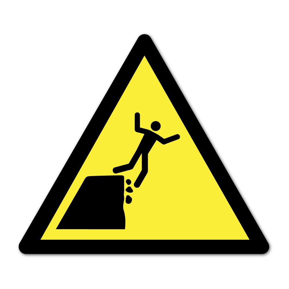 Sticker Danger bord de falaise instable 100X100mm magnetique