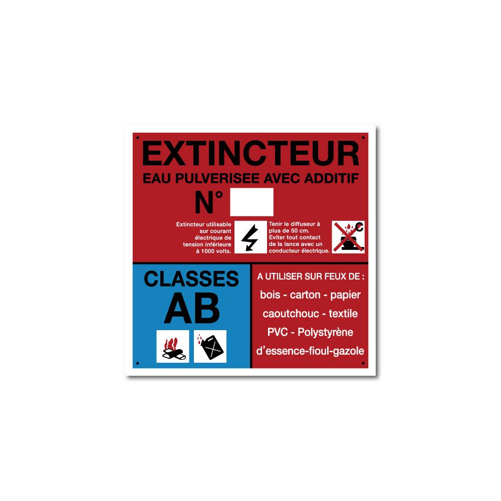 Sticker Extincteur classe AB format carré 100X100mm magnetique