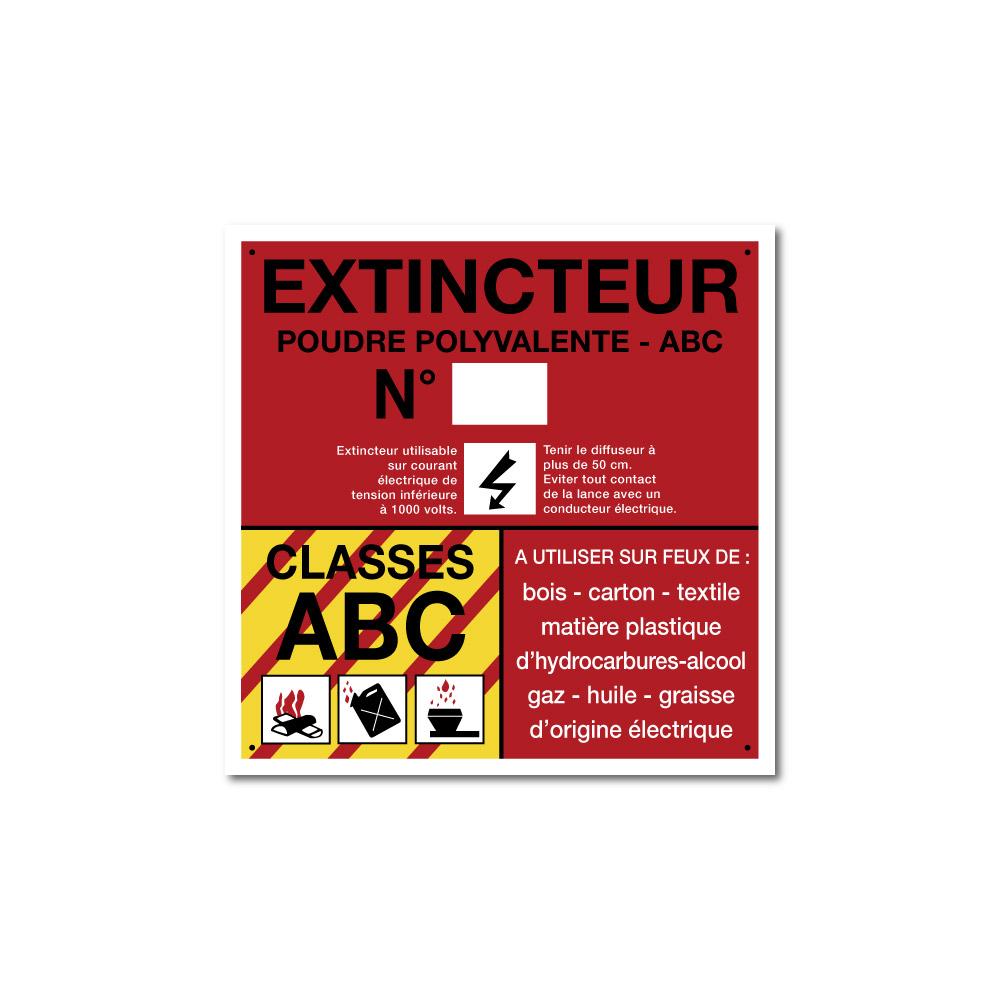 Sticker Extincteur classe ABC format carré 100X100mm magnetique