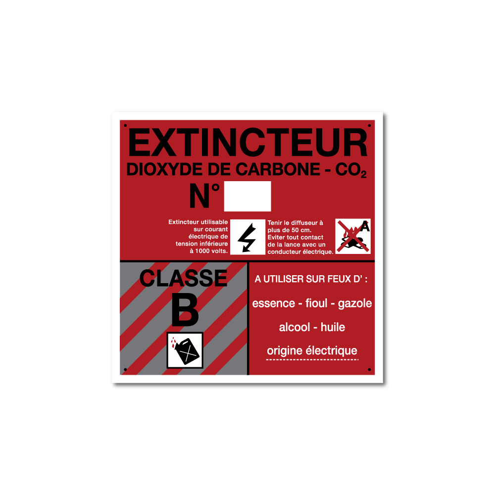 Sticker Extincteur classe B format carré 100X100mm magnetique