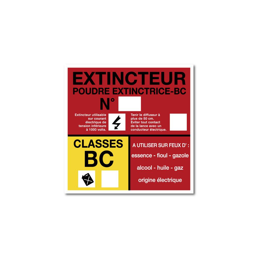 Sticker Extincteur classe BC format carré 100X100mm magnetique