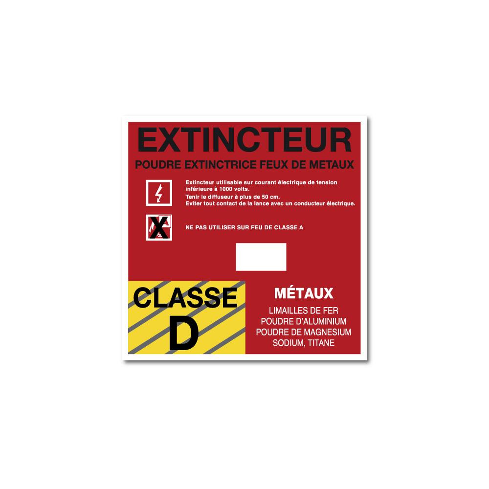 Sticker Extincteur classe D format carré 100X100mm magnetique