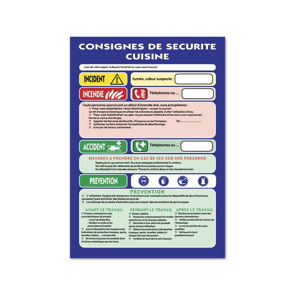 Sticker Consignes de sécurité cuisine 297X210mm magnetique