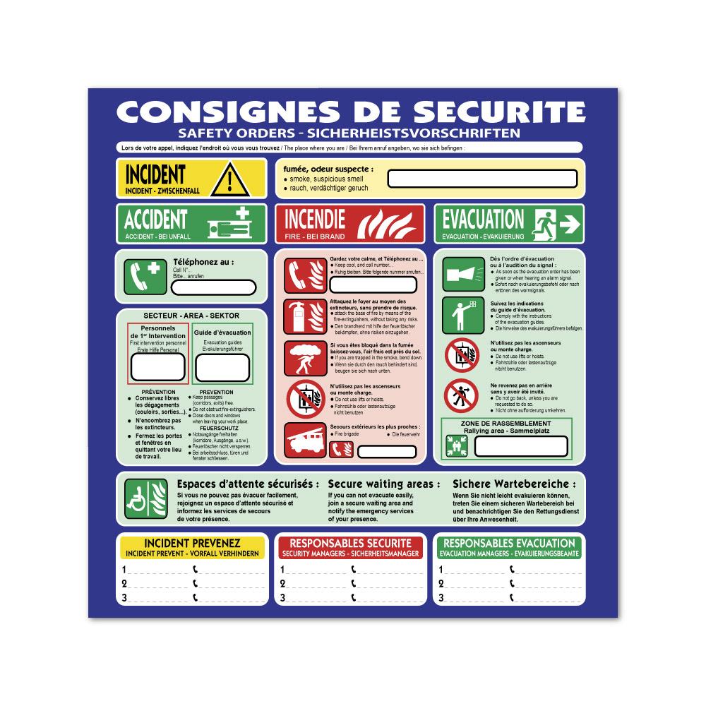 Sticker Consignes de sécurité 100X100mm magnetique