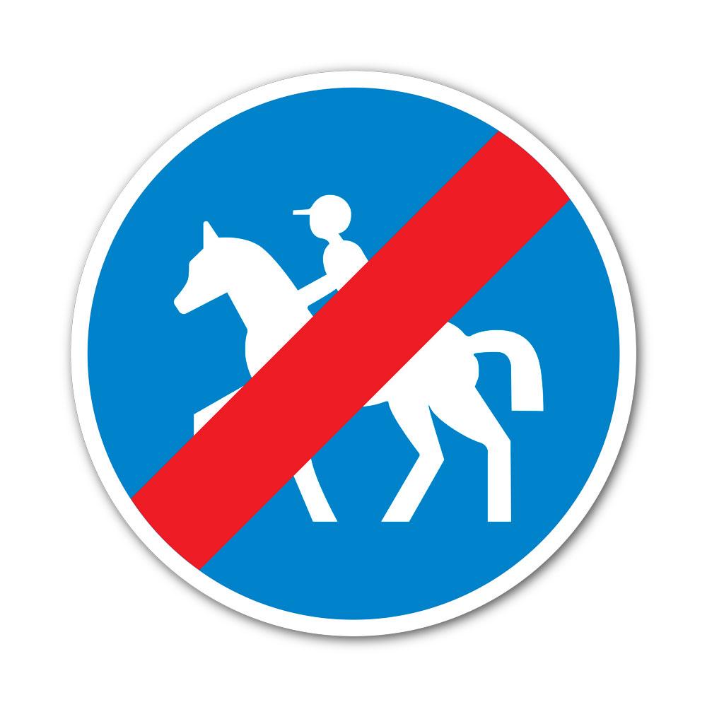 Sticker Fin du passage obligatoire pour les cavaliers 100X100mm magnetique