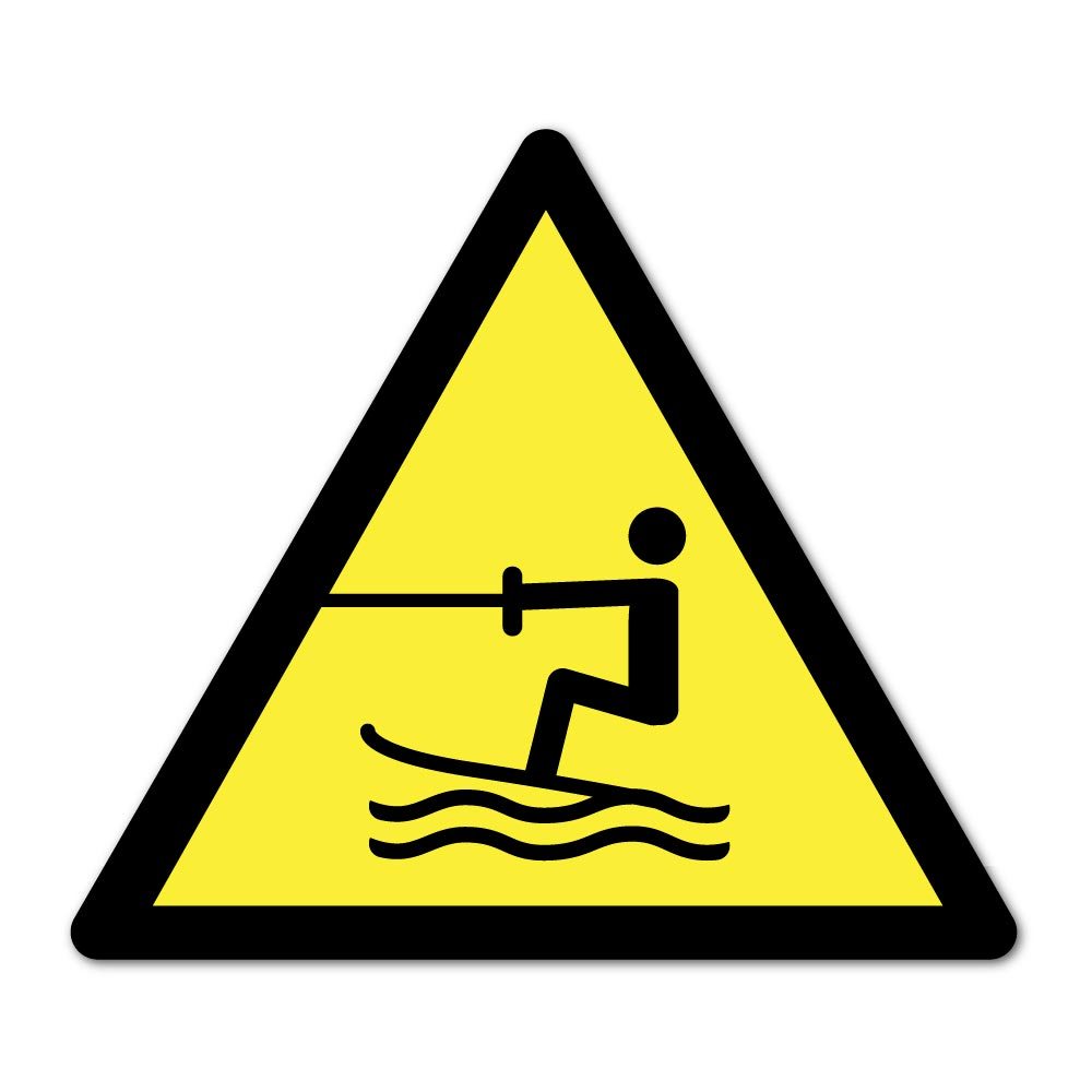 Sticker Danger Aire de ski nautique 100X100mm magnetique