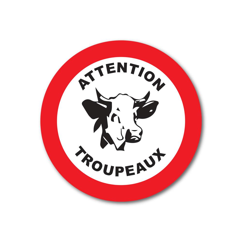 Sticker Attention troupeaux 100X100mm magnetique