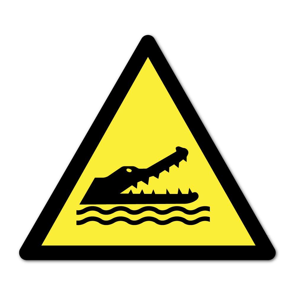 Sticker Danger crocodile 100X100mm magnetique
