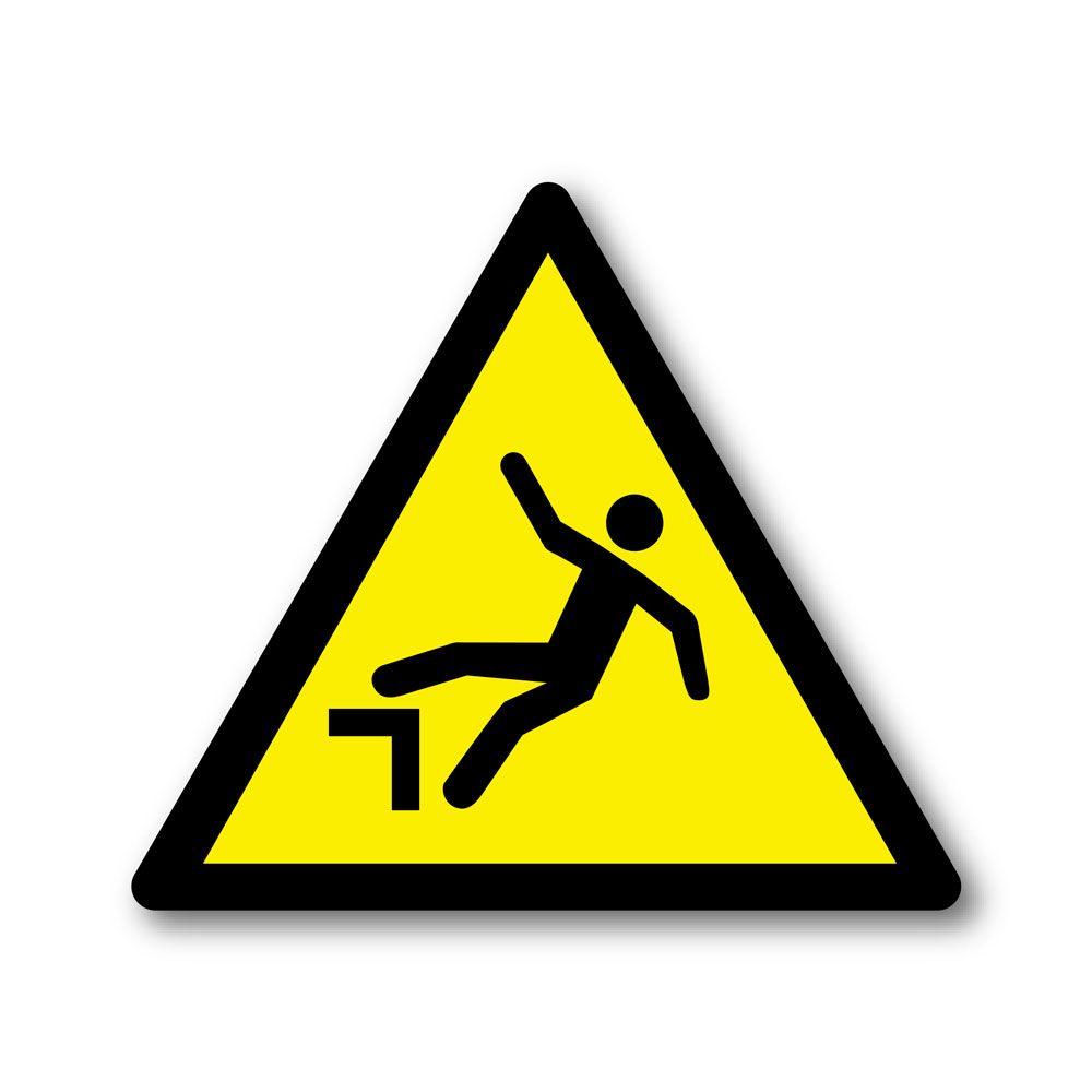 Sticker Attention risque de chute 100X100mm magnetique