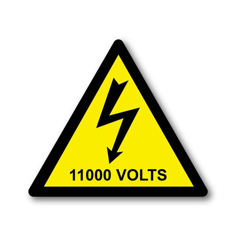 Sticker Danger 11 000 Volts 100X100mm magnetique