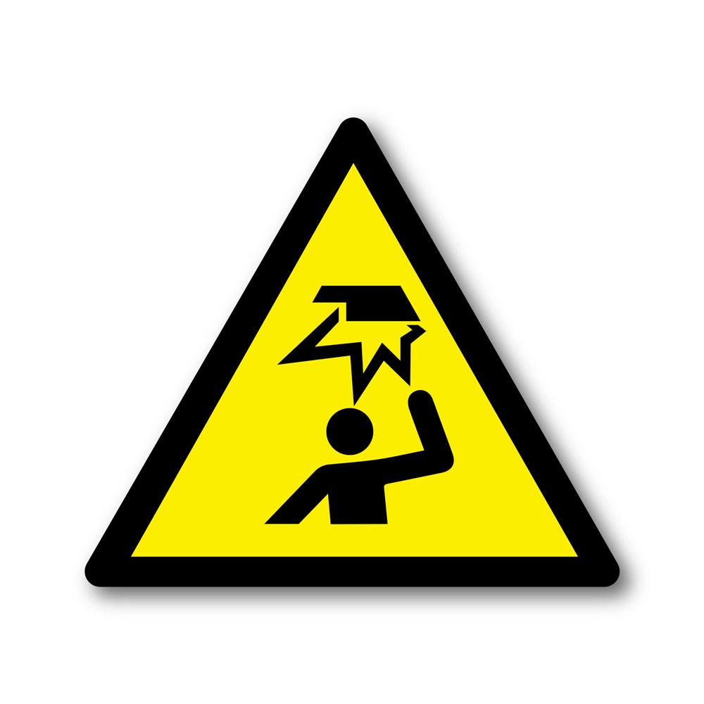 Sticker Attention obstacle en hauteur 100X100mm magnetique
