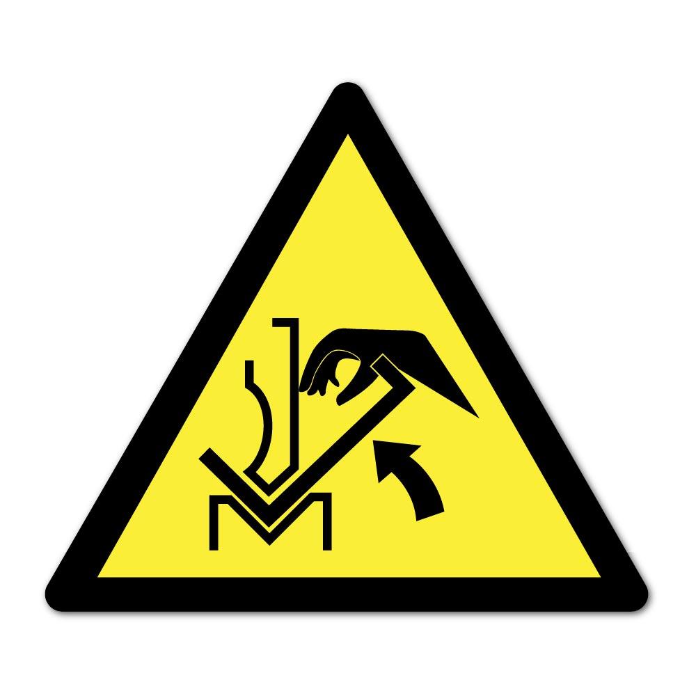 Sticker Danger écrasement de la main dans la presse 100X100mm magnetique