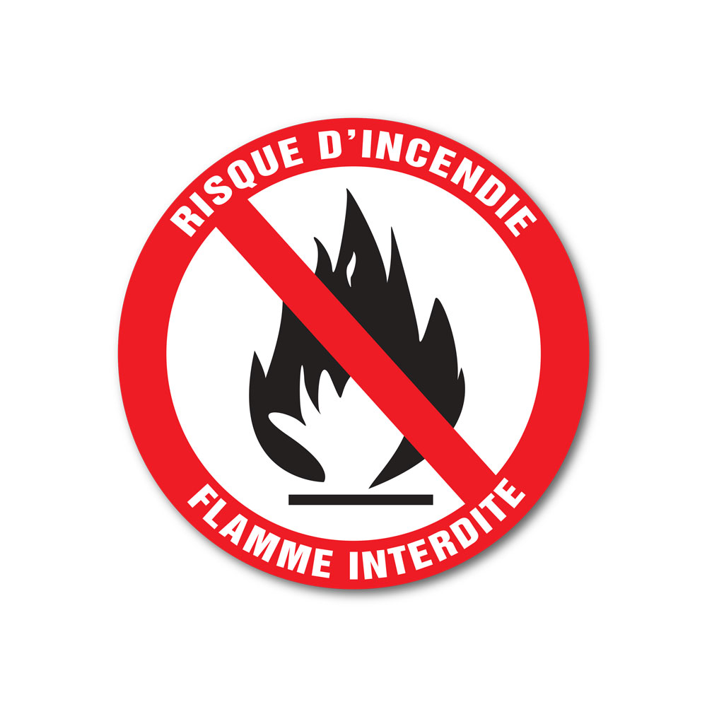 Sticker Flamme interdite 100X100mm magnetique