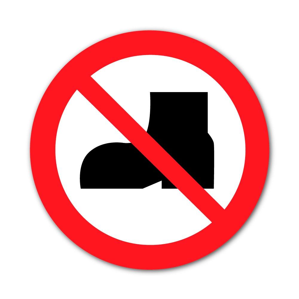 Sticker Interdiction Chaussures d'extérieur 100X100mm magnetique