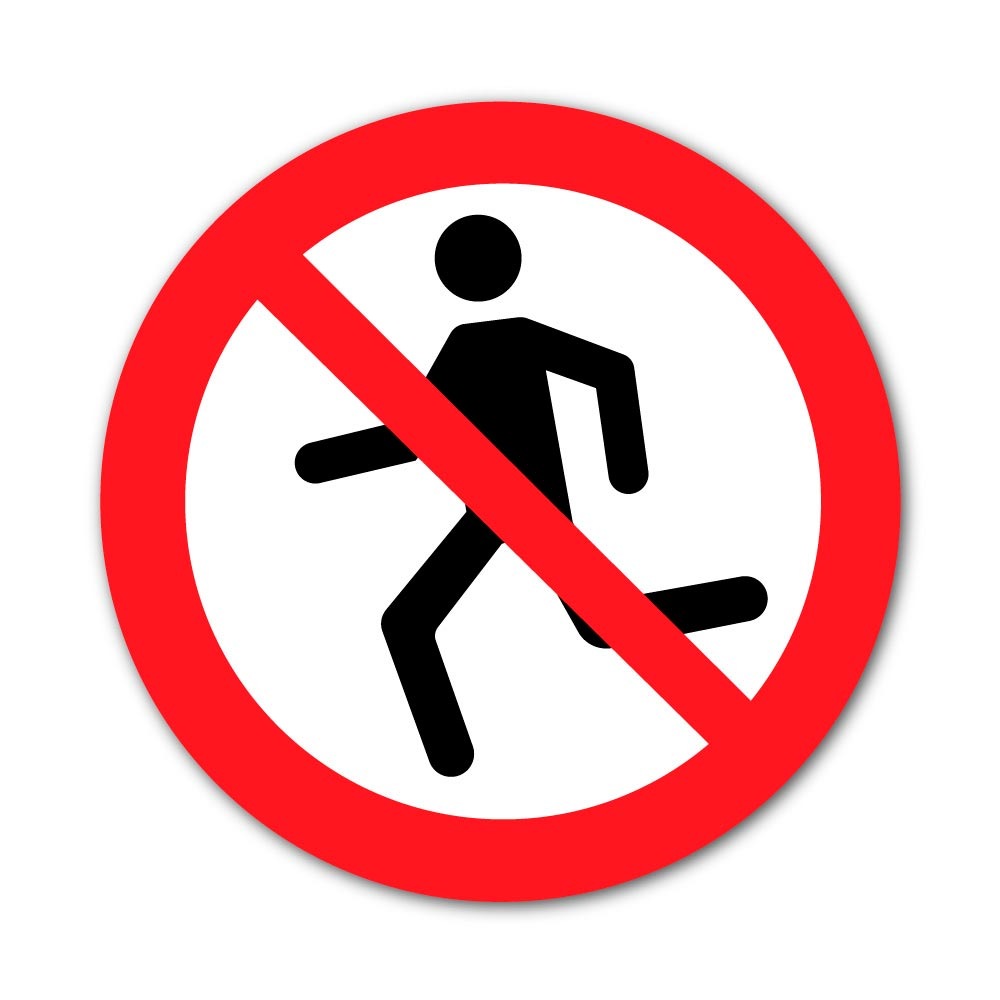 Sticker Interdiction de Courir 300X300mm magnetique